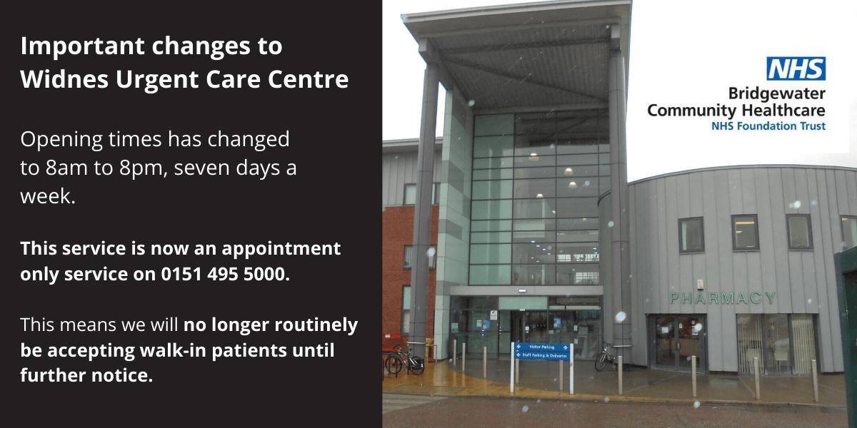 Change to Widnes Urgent Care Centre